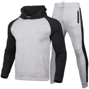 الرجال الصلبة اللون رياضية 2 مجموعات من سترة موضة جديدة رياضية رياضية رياضية sweatpants هوديس الربيع والخريف ماركة هوديس السراويل