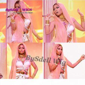 Ünlü Kaya Nicki Minaj Basket ödül gösterisi Peruk sentetik Pembe bel Ayaklar Boyu İpek Düz Saç Tam Peruk Orta Kısım Saç Derisi Peruk