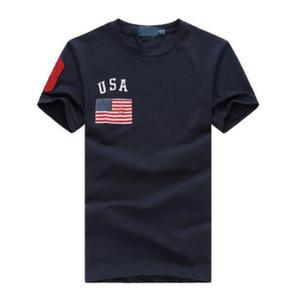 Mode USA Drapeau imprimé Hommes T-shirts Coton Coton Coton Coton T-shirt Hipster Solid Tees Cool Tops Blanc Blanc Bleu rouge