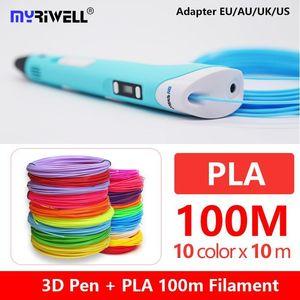 MyRiwell RP-100B 3D القلم مع شاشة LED مجانية Pla 1.75mm ABS خيوط 3D مقبض 3 د مقبض مع 100 متر abs الطفل هدية عيد ميلاد 1