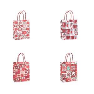 Christmas Gift Kraft Paper Bag Creative Bronzing Cute Cartoon Christmas Packaging Tote Bag DHB2674