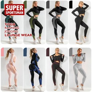Workout Clothes For Women Yoga Running Fitness Sport Gym Suits Seamless Long Sleeve Tops Pants Two Pieces Female Lounge Wear Set