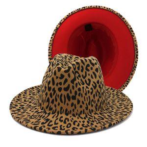 Erkekler Kadınlar Geniş Brim Yün Keçe Leopar Kemer Toka Vintage Daire İki Ton Panama Trilby Cap Hat ile Fedora Şapka Baskı