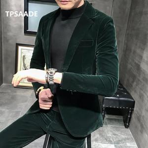 Moda Suits Blazers a mais recente moda verde jaqueta jaqueta calças groomsman slim encaixe vestido de banquete terno doivo fumar personalizado smoking