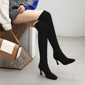 Women's Rubber Boots Autumn Shoes Luxury Designer Sexy Thigh High Heels High Sexy Winter Footwear Rain Fashion Ladies