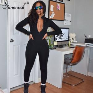 Simenual 스포티 캐주얼 피트니스 지퍼 장난 꾸러기 여자의 옷을 빌려 긴 소매 Bodycon 원피스 운동 점프 슈트 패션 201007 가을