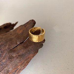 Silvology Argent 925 irrégulières larges bagues en or de haute qualité feuille de papier anneaux mode pour femmes Bijoux en argent cadeau 201112