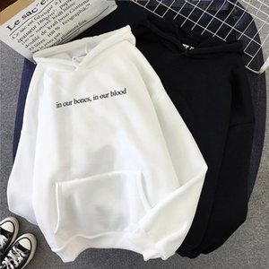 New Fashion Autumn In Our Bones,in Our Blood Letter Print Sweatshirt Women Harajuku Casual Fashion Thick Best Friends Hoodies