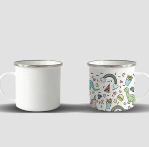 DHL shipping sublimation Blanks 12oz Camping Metal Coffee Stainless Steel Mug Durable Enamel Beverage Mugs FY4394