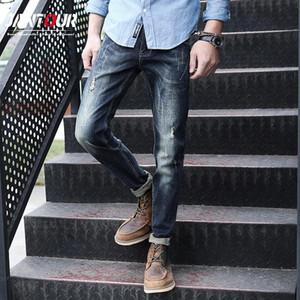 Jantour Streetwear Erkek Kot Kot Kot Pamuk Pantolon Moda Biker Erkek Yüksek Kaliteli Düz Yama Marka Giyim