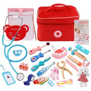 Children Play Doctor Nurse Toy Simulation Medicine Cabinet Play House Toy Wooden Simulating Medical Instruments Hospital Playset