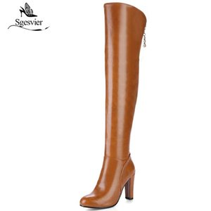 Sgesvier 2020 newest over the knee boots women round toe autumn boots sexy stiletto thick heels shoes woman long B704