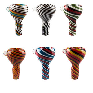 Headshop666 G086 Wig Wag Full Color Joint 14mm 19mm Male Colorful Glass Bowls Dry Herb Glass Bong Hand Pipes Smoking Bowls