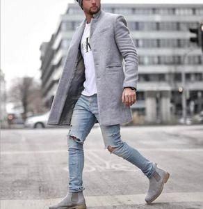 CLASSDIM degli uomini di marca solido di colore casuale Cappotto Uomini lungo misto lana inverno dei cappotti di New Business casual cappotto maschile