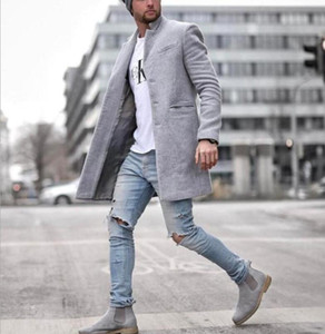 CLASSDIM Marca Men cor sólida Lã Casual Brasão Homens Long misturas de lã Coats Inverno New Business casual Overcoat Masculino