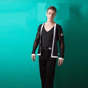 Männer Latin-Tanz-Hemd Schwarz V-Kragen mit Mantel 2pcs Männliche Tanzkostüme Modern Rumba Chacha Latin Ballsaal Wear BL1351