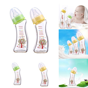 high 150ML anti-Fall boron silicon glass baby bottle arc bottle breast milk realsense nipple mother and baby feeding tool contains scale