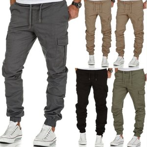 Cargo Male Casual Multi-Pockets Jogger Man Skinny Grey Trousers Outdoor Pants For Men 201027