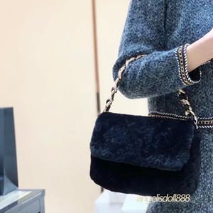 2021 Nuove sacchetti di moda Small Womens Borse da donna CHA Pelliccia di pelliccia Borsa in lana nera Diamante con cristallo trapuntato in cristallo trapuntato Genuine Borsa di alta qualità Borse di qualità