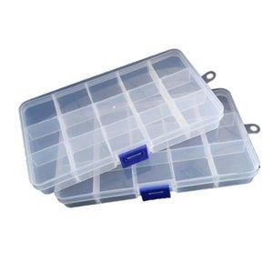 15 Gitter Transparente einstellbare Slots Schmuckschatulle Perle Organizer Boxen Aufbewahrung Kunststoff Schmuck Aufbewahrungskoffer Kostenloser schneller Seeversand GWC4945