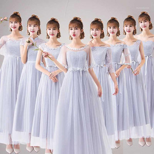 Vestido Grey Bridesmaid Dress Cheap Simple women evening dress Bride Wedding Prom Party Graduation Gown lace evening skirt girl1