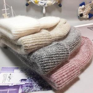 Mode Angora Tricoté Skullies Cachemire Beanies Beanies chaud épais Mesdames laine chapeau Femme chaud Chapeaux Bonnet