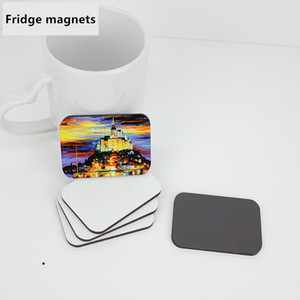 120pcs Sublimation blank DIY Fridge Magnets Wooden MDF Refrigerator Sticker Creative Magnets Gift Heat transfer Round Rectangle Square