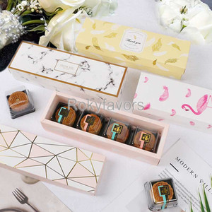 50PCS Flamingo Marble Feather Leaf 2PC Rectangle Boxes Favors Nougat Bag Cookies Gift Box Chocolate ShortBread Paper Package Baking Decors