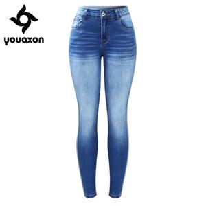 2173 youaxon новая боковая полоса исчезновенные джинсы плюс размер женщина растягивающие джинсовые джинсовые брюки брюки для женщин джинсы 201030