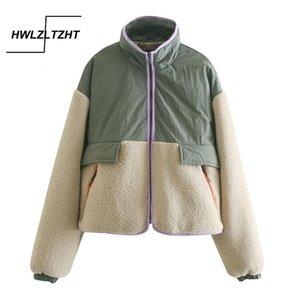 HWLZLTZHT 2021 Sonbahar Kış Sıcak Lambswool Patchwork Ceket Kaban Kadın Chic Cepler Kısa Paltolar Kadın Rahat Gevşek Dış Giyim