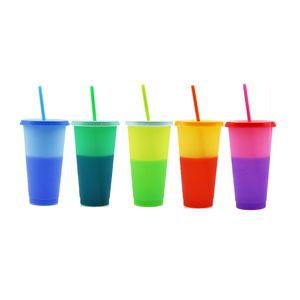 720ml Fleck PP Warm und Kaltwechsel Kunststoff Strohbecher mit Deckel Feste Farbe Trinkbecher Kunststoff Farbwechsel Cup Custom