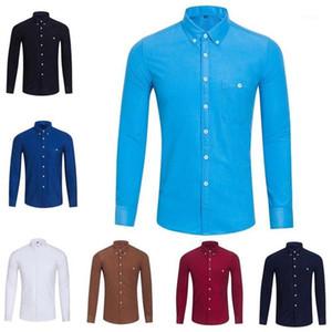 GWTNN Осень и зима Новый британский ветер ветер кормурус сплошной цвет рубашки мужские длинные рукава дикие крупные рубашки M-5XL1