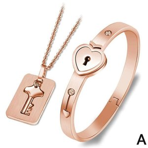 2020 Lovely Couple Pendant Rose Gold Titanium Steel Key Lock Chain Necklace Bangle Jewelry Kits Girls Valentines Day Lover Gifts