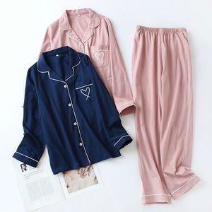 QWEEK Pajamas for Women Heart Embroidery Cotton Pijama Mujer Sleepwear Long Sleeve Nightie Pyjamas Women Dropshipping 201012