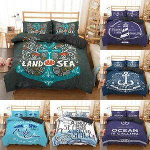 Set di biancheria da letto Homesky Nautical Ocean Set Stampato Trapunta stampata Microfiber Duvet Queen King Size Cucina Biancheria da letto