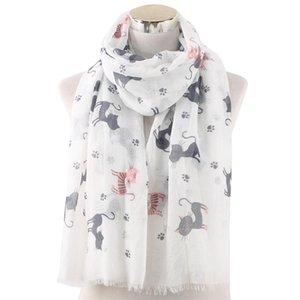 الأوشحة 2021 الأزياء القط طباعة شالات لطيف الحيوان نمط المتوترة وشاح التفاف الحجاب 2 اللون