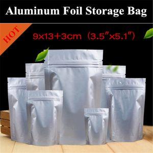 "100PCS 9x13 + 3cm (3.5 ""x5.1"") 280micron 알루미늄 호일 일어나 애 가방 자체 밀봉 그리스 방지 식품 포장 / 보관 가방"