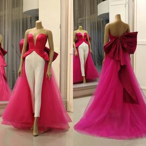 Elegant Satin Jumpsuit with Detachable train Big Bow Sash Prom Dresses Plus Size Custom Made Party Dress vestido de novia