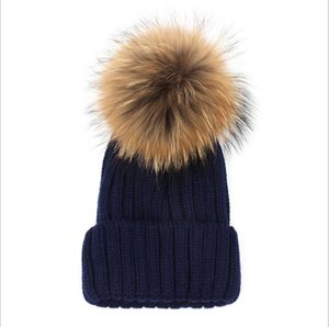 new20Quality Removable Real Mink Fox Fur Pom Poms Ball Acrylic Beanies Winter Warm Plain Hats Adults Slouchy Mens Womens Snow Warm Hat