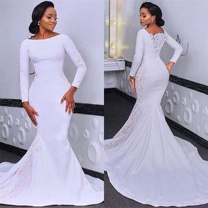 Modern Africa Mermaid Wedding Dress Long Sleeves Appliqued Lace Bridal Gowns Custom Made Plus Size Sweep Train Vestidos De Novia