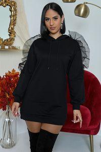 Femmes Ruffle Robe manches longues à cordonnet Crew T-shirt col Robe femme large Waisted Vêtements