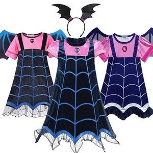 Muababy Girls Vampire Fancy Dress Up Костюмы, одежда с коротким рукавом карнавал Хэллоуин вампир партии платье детские блок LJ200923