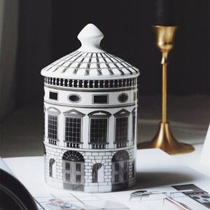السيراميك منزل شمعة حامل diy اليدوية قلعة الحلوى جرة خمر تخزين بن جدف المنزل الديكور jewerlly تخزين مربع