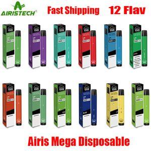 Auténtico dispositivo Airis Mega desechable Pod 2000 Puff 1050mAh 6 ml precargada portátil de la pluma del palillo de Vape barra más el flujo de Bang XXL Max 100% auténtico