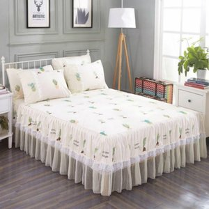 New 1pc Bed Skirt + 2pcs Pillowcase Bedding Set Sanding Soft Bedspread King Queen Size Double Layer Bed Skirt
