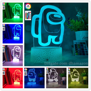 Among us Led Lighted 3D Illusion Desktop Lamp Creative Crack Base With Remote Control Bedside Night Lamps DHL Free Shipping