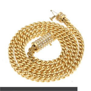 2019 new Hip Hop Essence Heavy Diamond Insurance Buckle Stainless Steel Protect Color Male Person Keel Chain Iced Out Necklace 73cm 110g