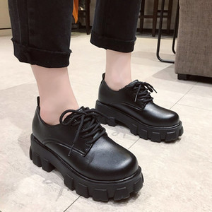 2021 The New Black Leather Platform Oxfords for Toe Round Lace Up to Woman's Woman Warm Winter Teddy Shoes 099d
