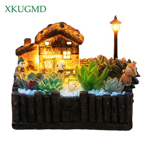 1 pcs flowerpot avec planteur pastoral classique décoratif clair casseroles succulentes cactus herbes plante bureau de bureau grasse cottage y200723