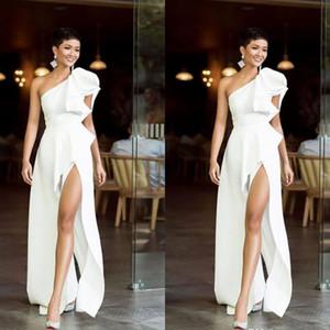 White One Shoulder Evening Dresses High Side Split Formal Party Dress Custom Size Vestido De Festa